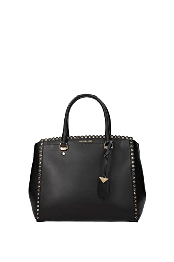 bef6aa0e7b545c Amazon.com: MICHAEL Michael Kors Benning Large Scalloped Leather Satchel -  Black $428: Shoes
