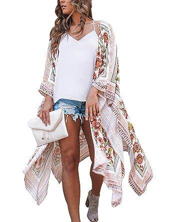 c2e1a96cc0853 MayBuy Women's Long Flowy Kimono Cardigan Boho Style Chiffon Beach Open  Cover Ups Shawl Wrap S-3XL at Amazon Women's Clothing store: