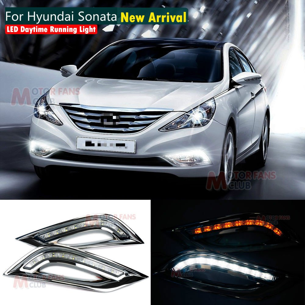 MotorFansClub Daytime Running Light LED DRL Fog Lamp Cover for Hyundai Sonata I45 YF 2011-2014 with Turn Signal