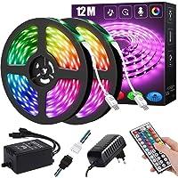 Ledstrip, 12 m, RGB ledstrip, kleurverandering, led-band met IR-afstandsbediening, voor de verlichting van huis, feest…