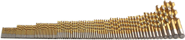 micro m/èche 10mm set outils foret acier rapide SYCEES 99 Pi/èces HSS Perceuses Forets Titanium H/élicoidal 1,5mm