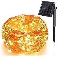 Piwoka Guirnaldas Luces Exterior Solar luces LED Solar de 100 LEDs 12M Con 8 Modos para decortado casa, jardin, terraza…