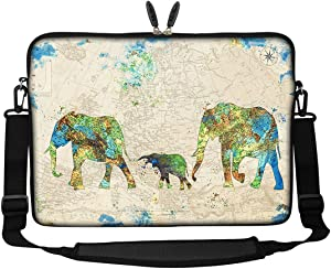 Meffort Inc 17 17.3 inch Neoprene Laptop Sleeve Bag Carrying Case with Hidden Handle and Adjustable Shoulder Strap - Family of Elephants