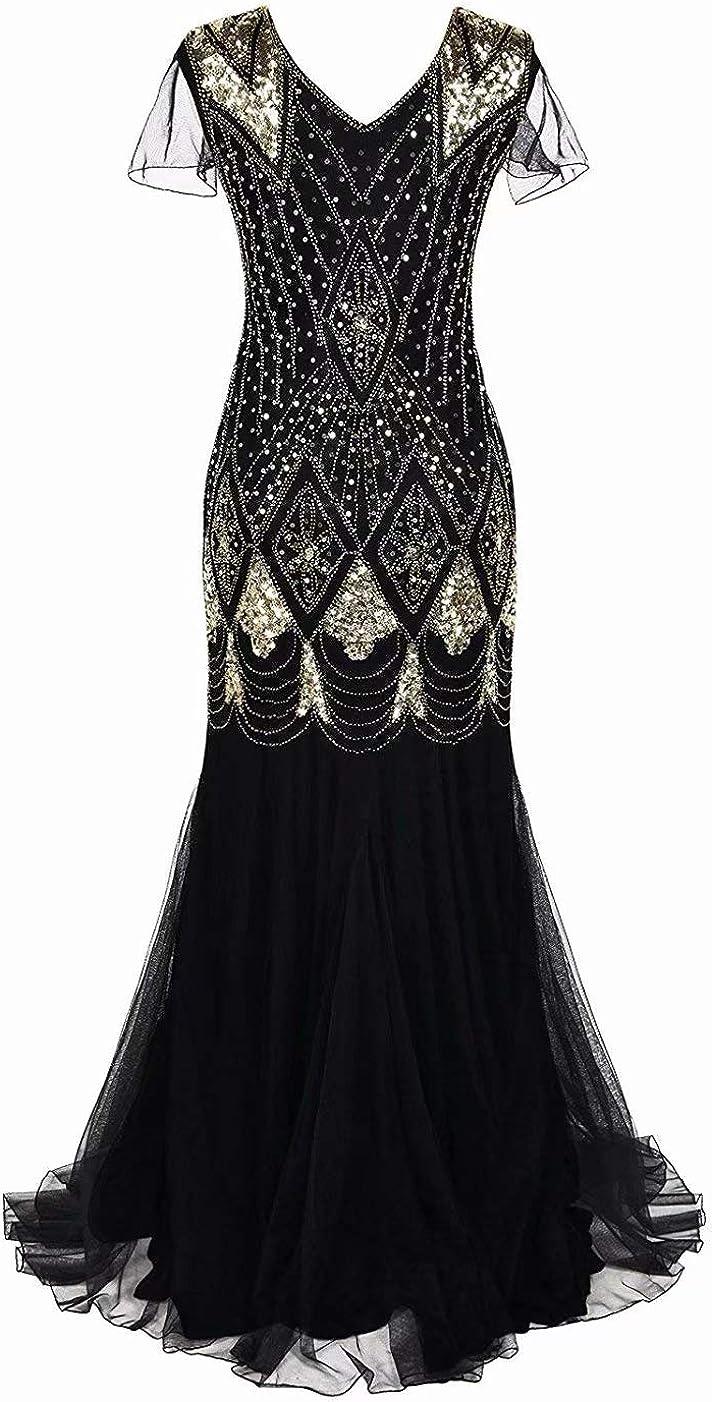 style ann/ées 1920 Gatsby 50-52 style sir/ène Noir GA80 grande taille avec perles et sequins Robe longue /évas/ée