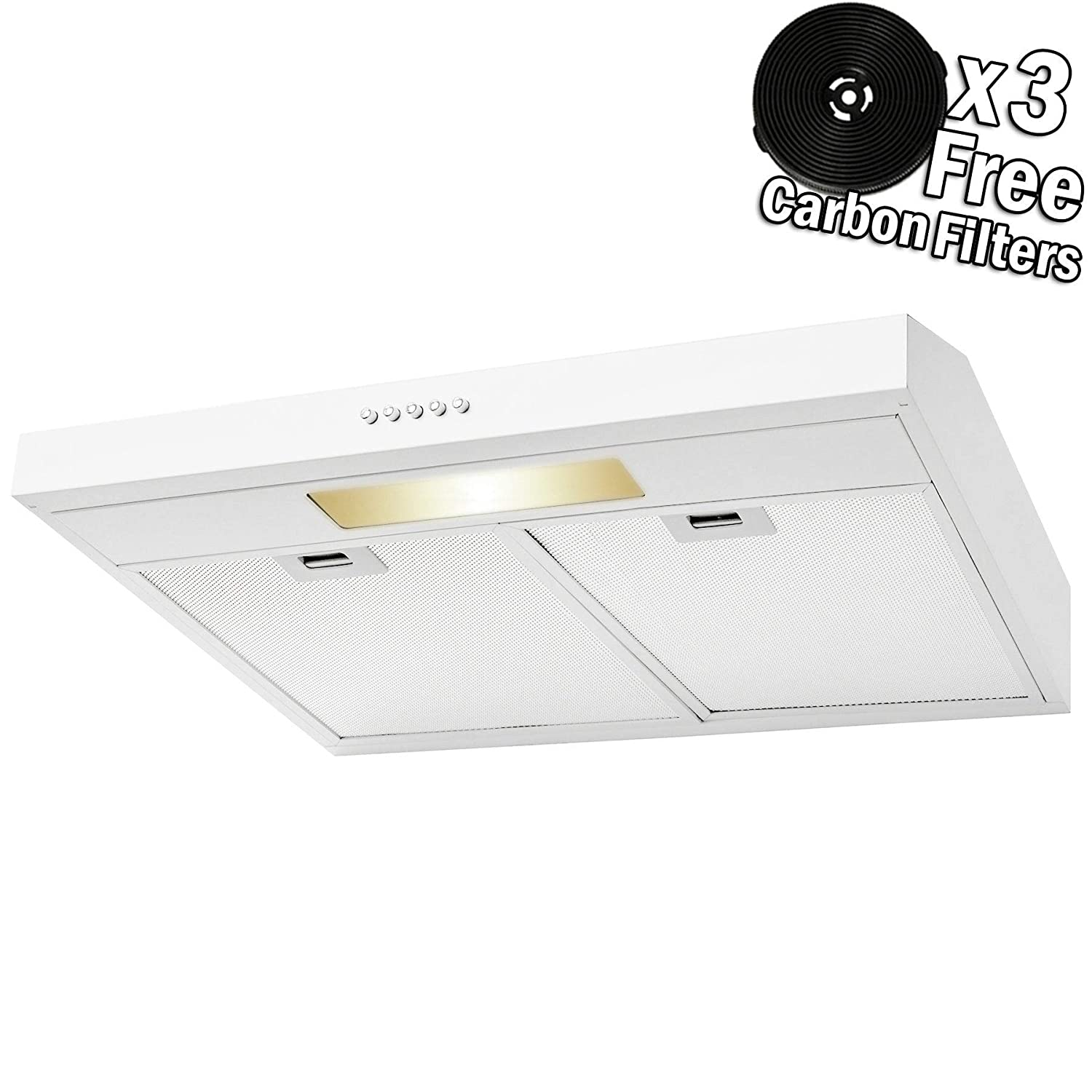 Carbon Filters Lighting Bar 36 in, Black Painted Stainless Steel AKDY Under Cabinet Kitchen Range Hood Cooking Fan with Push Panel