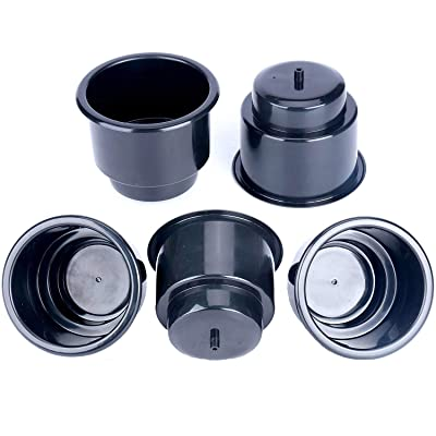 Amarine Made (Set of 5) Black Recessed Drop in Plastic Cup Drink Can Holder with Drain for Boat Car Marine Rv - Black: Automotive
