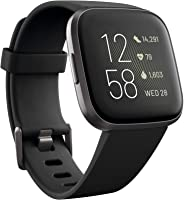 Fitbit Versa 2 Health & Fitness Smartwatch with Heart Rate, Music, Alexa Built-in, Sleep & Swim Tracking, Black/Carbon, One
