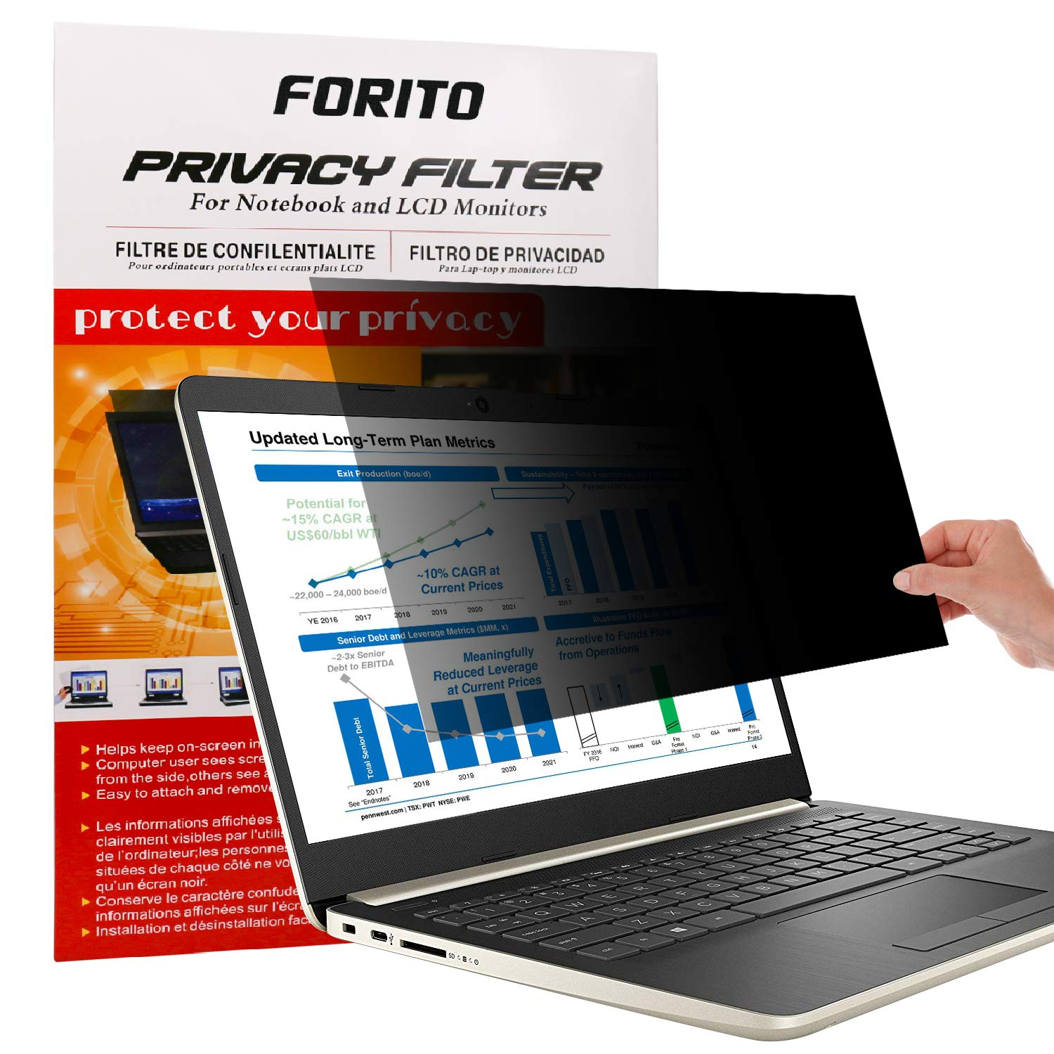 "14 Inch Laptop Privacy Screen Fliter -Anti Glare Screen Protector for 14"" All Brands of Widescreen Laptop with Display (Size: 12.2"" Width x 6.9"" Height)"