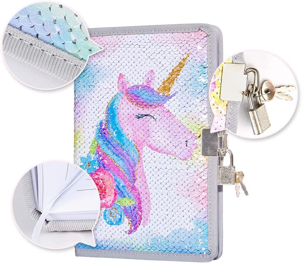 Kids Book Unicorn Gifts for Girls Secret Diary Padlock with Key Poopsie Slime Surprise Lockable Diary Lined Paper Girls Gifts Note Pad Cute Book