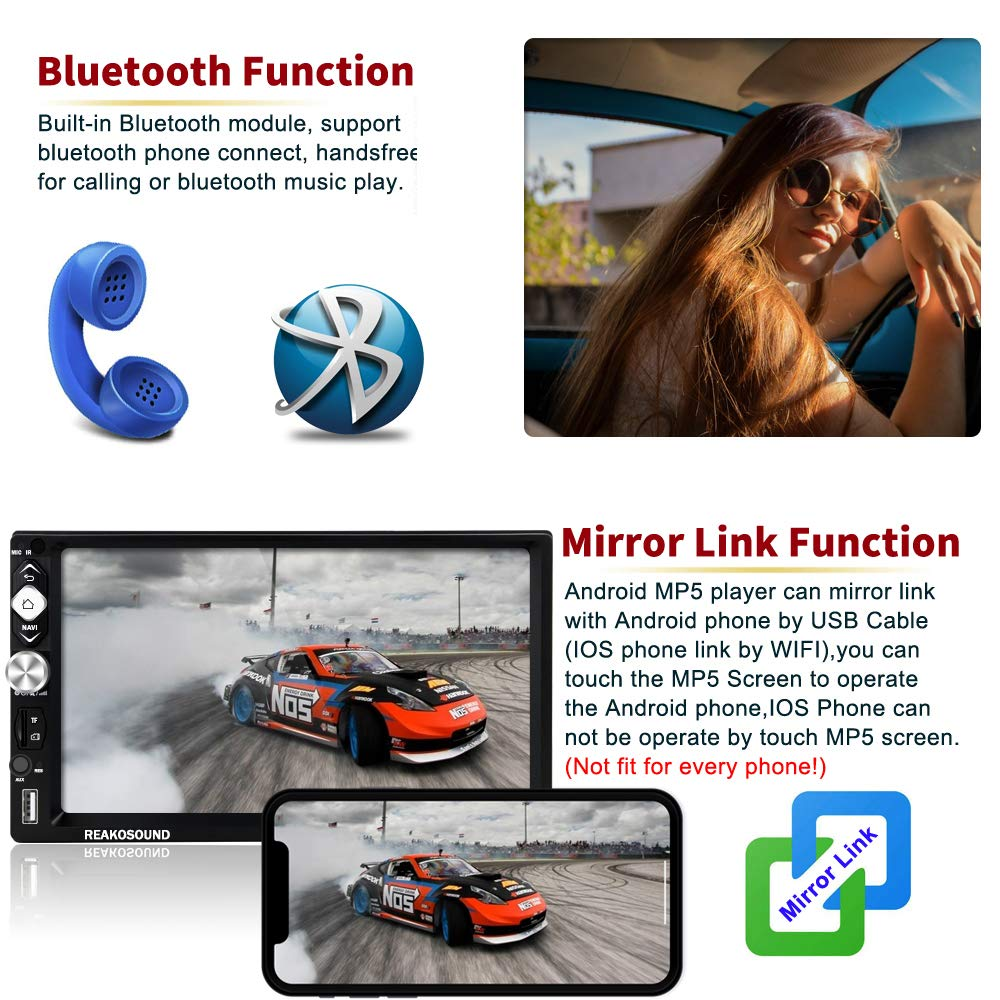 Car Radio Android Car Navigation Stereo with Bluetooth 7 Touch Screen Car Audio1G //16G Support WiFi//USB//FM Radio+Rear View Camera/&Remote Control