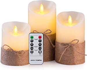 Aku Tonpa Flameless Candles Battery Operated Pillar Real Wax Electric LED Candle Set with Remote Control and Timer, Ivory Wax with Hemp Rope