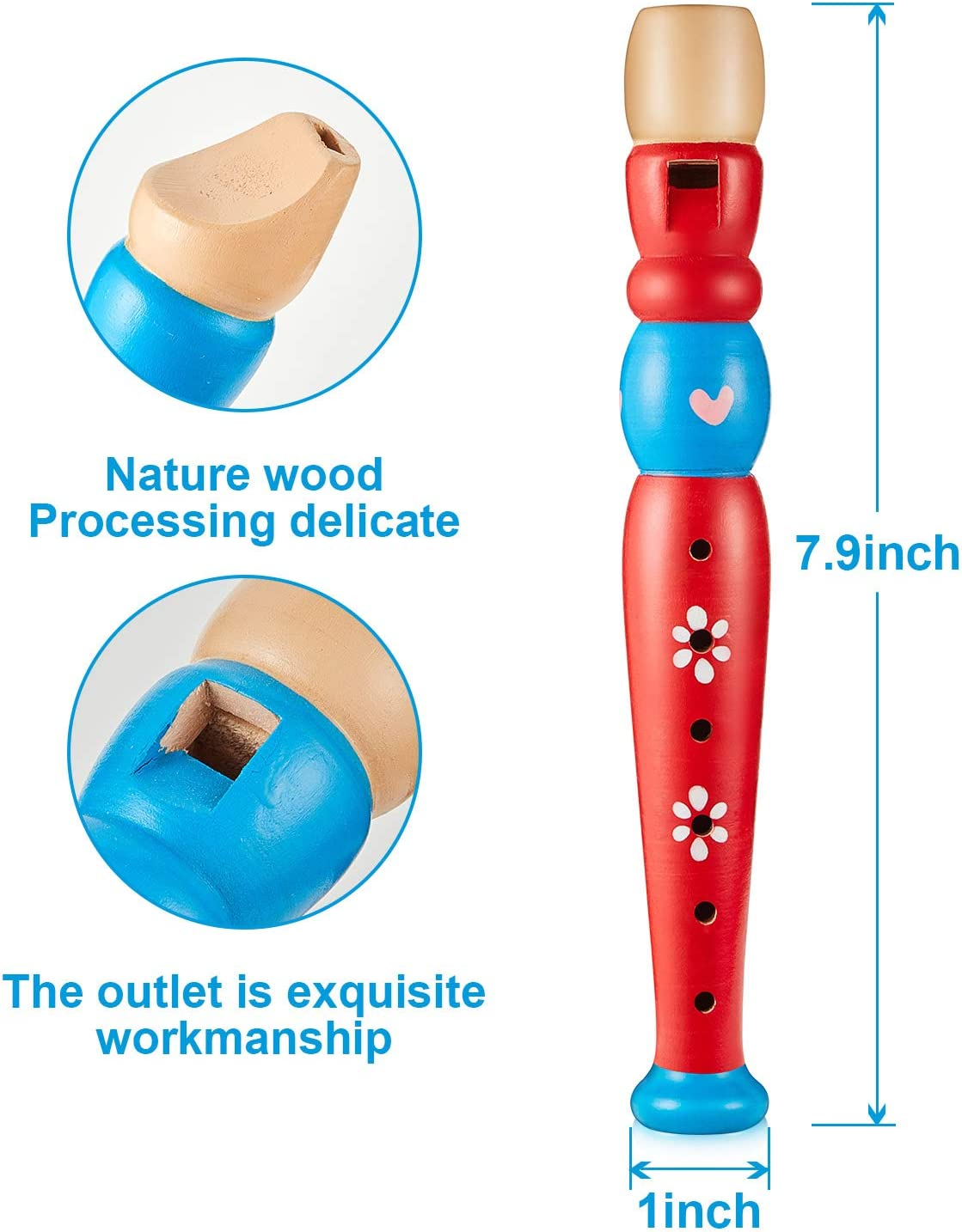 3 Pieces Wooden Recorders Toy Small Wooden Recorders Musical Instruments Recorders Toy Colorful Piccolo Flute with 6 Holes Educational and Learning Wooden Flute for Boys and Girls Random Colors