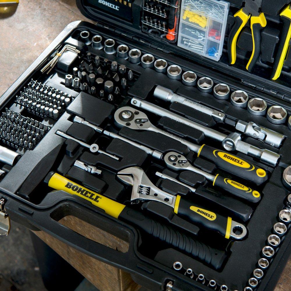 """Bohell SH303 - Maletín con juego de llaves de vaso de ¼ y ½"""" y otras herramientas, 303 piezas"""