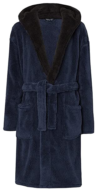 025e438271 MICHAEL PAUL Men s Hooded Soft Snuggle Fleece Dressing Gown (Medium