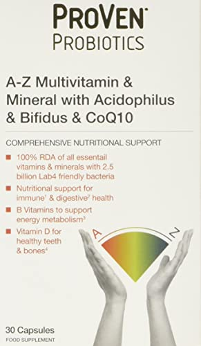 Proven Probiotics A-Z Multivits and Acidophilus and Bifidus and Co Q10 Capsules - Pack of 30