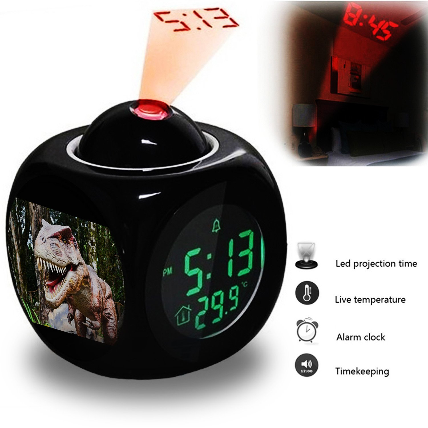 Projection Alarm Clock Wake Up Bedroom with Data and Temperature Display Talking Function, LED Wall/Ceiling Projection, Dinosaur-212.319_Dinosaur, Robot, Jurassic Girlsight