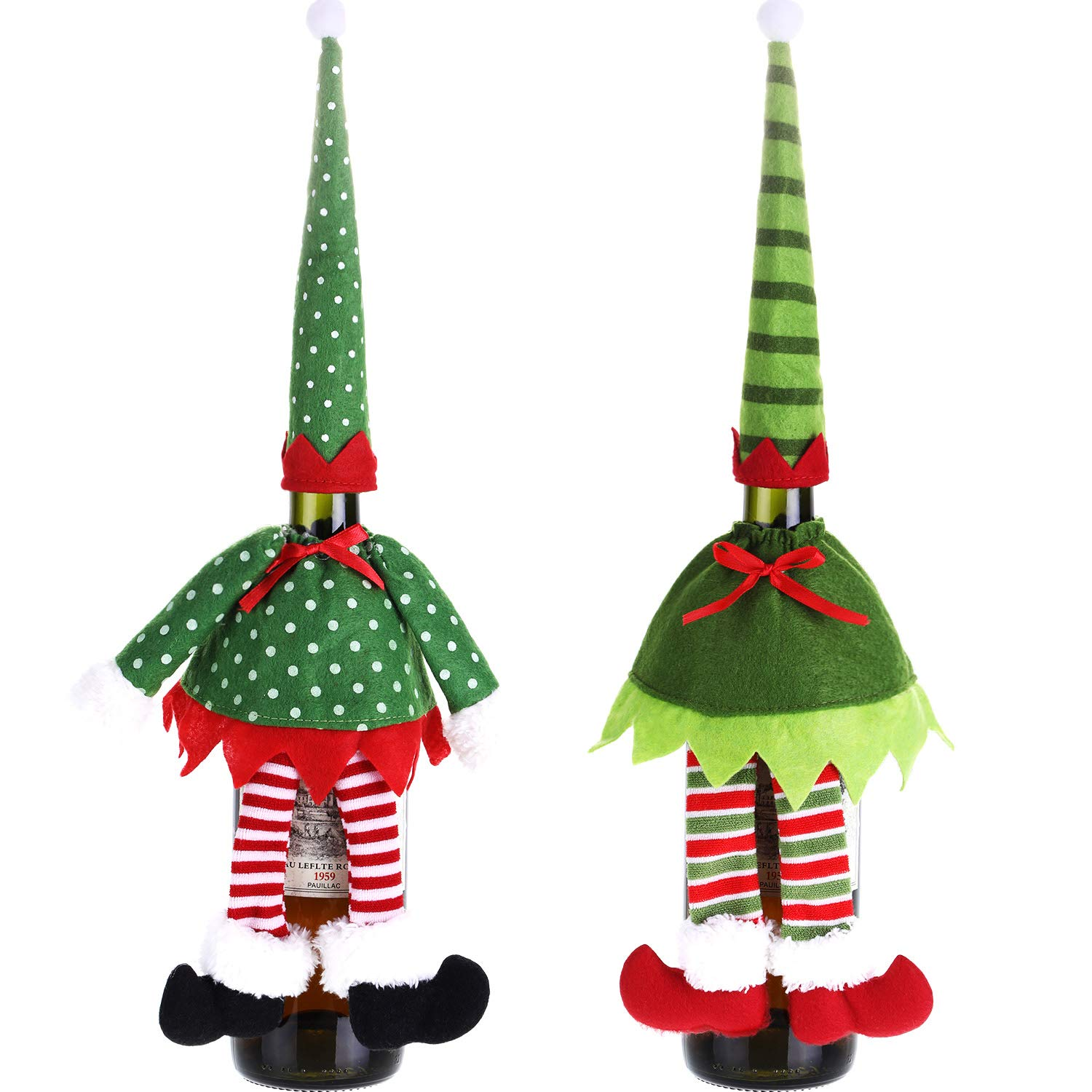 Tatuo 2 Sets Christmas Wine Bottle Cover Elf Bottle Clothes Hat Dress Cover Christmas Decoration