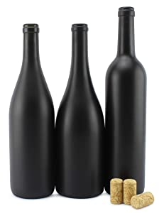 Cornucopia Black Wine Bottles w/Corks (Set of 3); Black Matte Coated Glass Wine Bottles Various Sizes for Decor and Homemade Wine; Use for Halloween Too