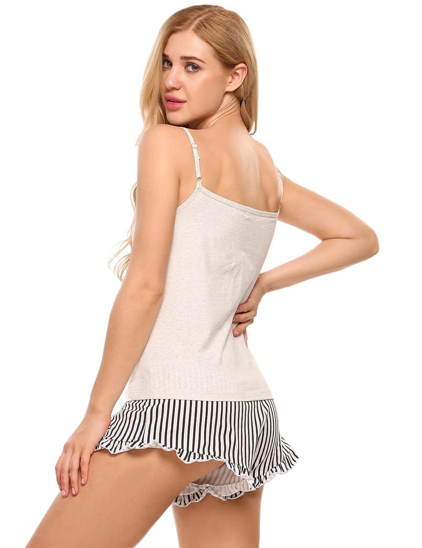 97b4b60d5b Ekouaer Womens Short Pajama Set Letter Print Cami Top Striped Shorts  Sleepwear EKK005286