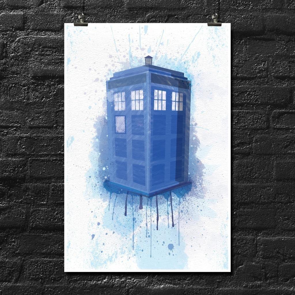 Doctor Who Tardis Splash Art Poster Wall Print | Inspirational Motivational Gym Classroom Home Office Dorm | 18 X 12 Inches | SJC207
