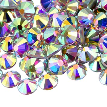 60bf71348a Amazon.com: NCB Top Quality Non Hotfix Crystal Flat Back Rhinestones Gems  Round Nail Art (Crystal AB SS20 5.0mm 2160pcs): Beauty