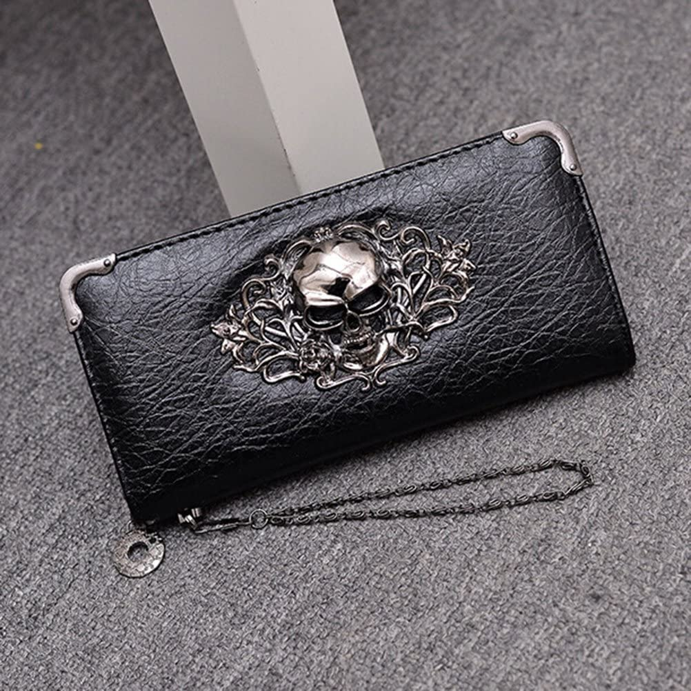 FENICAL Womens Wallet Long Retro Punk Dice Wallet Skull Clutch Bag for Halloween Party Decoration Black