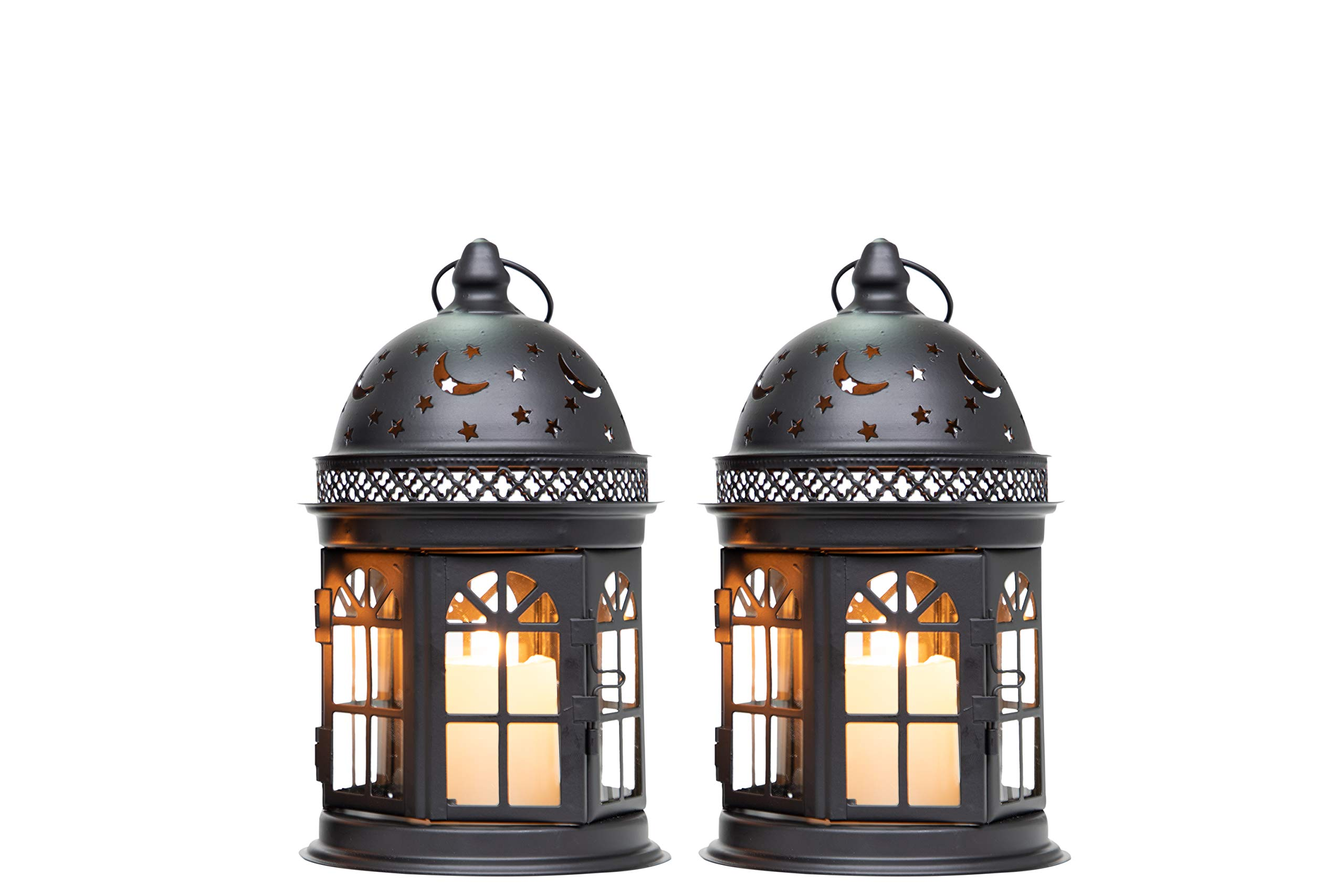 JHY DESIGN Set of 2 Decorative Lanterns-8.5inch High Vintage Style Hanging Lantern Metal Candle Holder for Indoor Outdoor Events Parities and Weddings (Black)