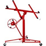 Idealchoiceproduct 11' Drywall Lift Rolling Panel Hoist Jack Lifter Construction Caster Wheels Lockable Tool Red