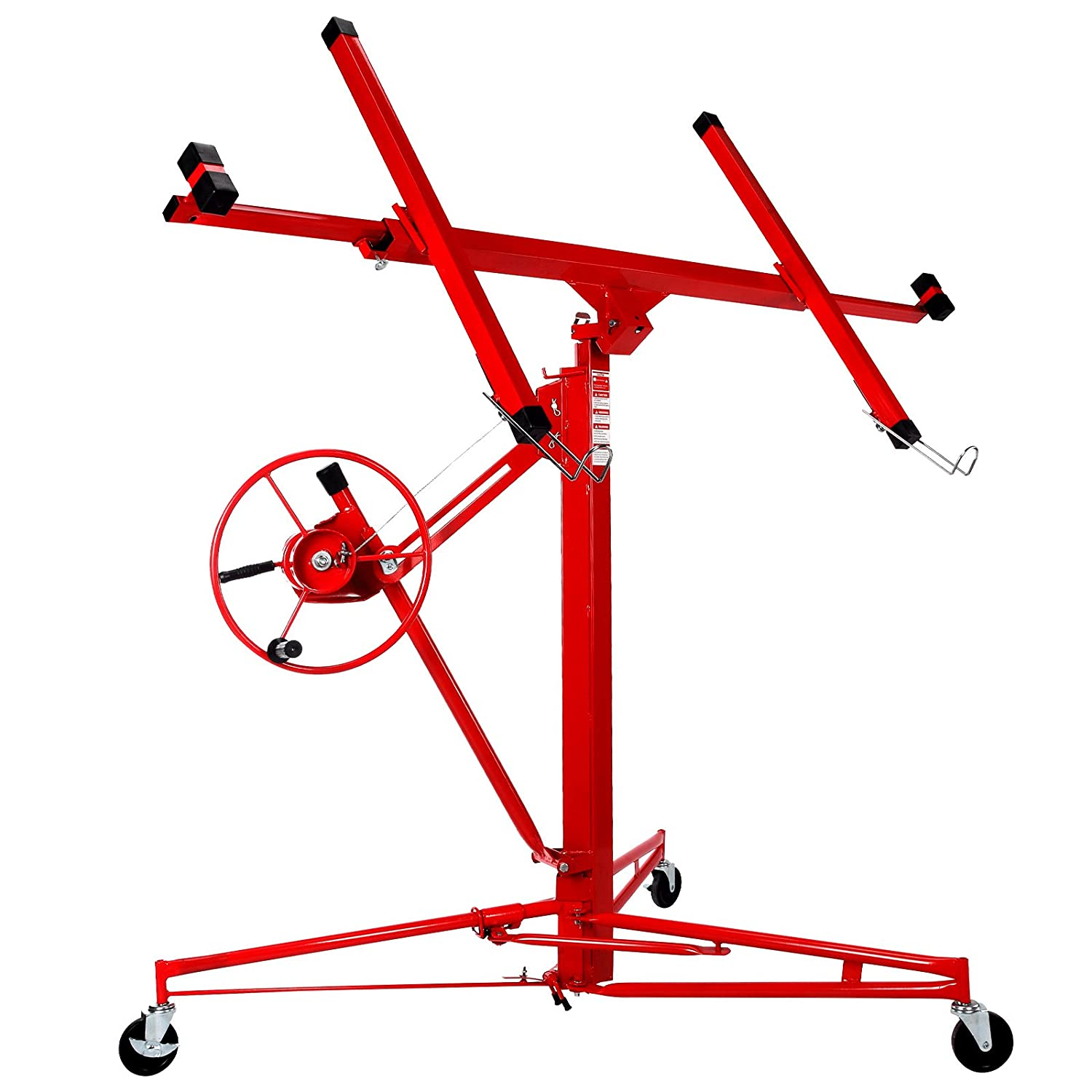 Superworth 11FT Heavy Duty Drywall Lift Lifter Plaster Board Panel Hoist Jack Tool 70kg Lifting Capacity With 4' Caster Wheels Rolling Lockable Red SWBUK