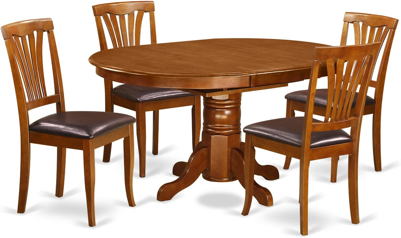 AVON5-SBR-LC 5 Pc set Avon Table featuring Leaf and 4 Leather Kitchen Chairs in Saddle Brown