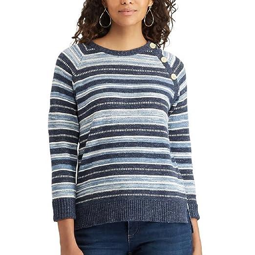 e1d7e7c5d1f Chaps Women s Plus SizeSunset Ave Striped Button-Shoulder Sweater at ...