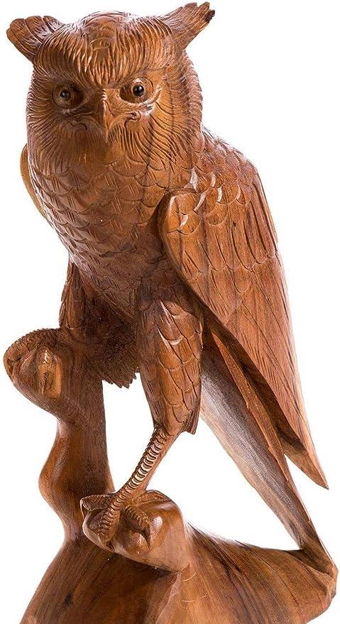 Windalf – Madera Búho Raya H: 53 cm Jardín Búhos Figura Jardín Decoración Mano de Madera: Amazon.es: Jardín