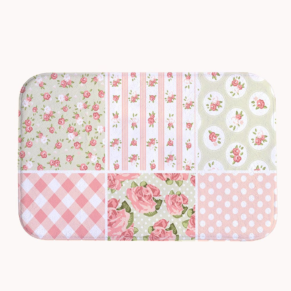 Yilooom  Super Soft Non-slip Sweet Pink Shabby Chic Bath Mat Coral Fleece Area Rug Door Mat Entrance Rug Floor Mats for Front Outside Doors Entry Carpet 50 X 80 cm