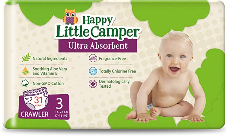 Happy Little Camper Natural Diapers, Size 3 (16-28 lbs) - Disposable Cotton Baby Diapers with Aloe, Ultra-Absorbent, Hypoallergenic and Fragrance Free for Sensitive Skin, 31 Count