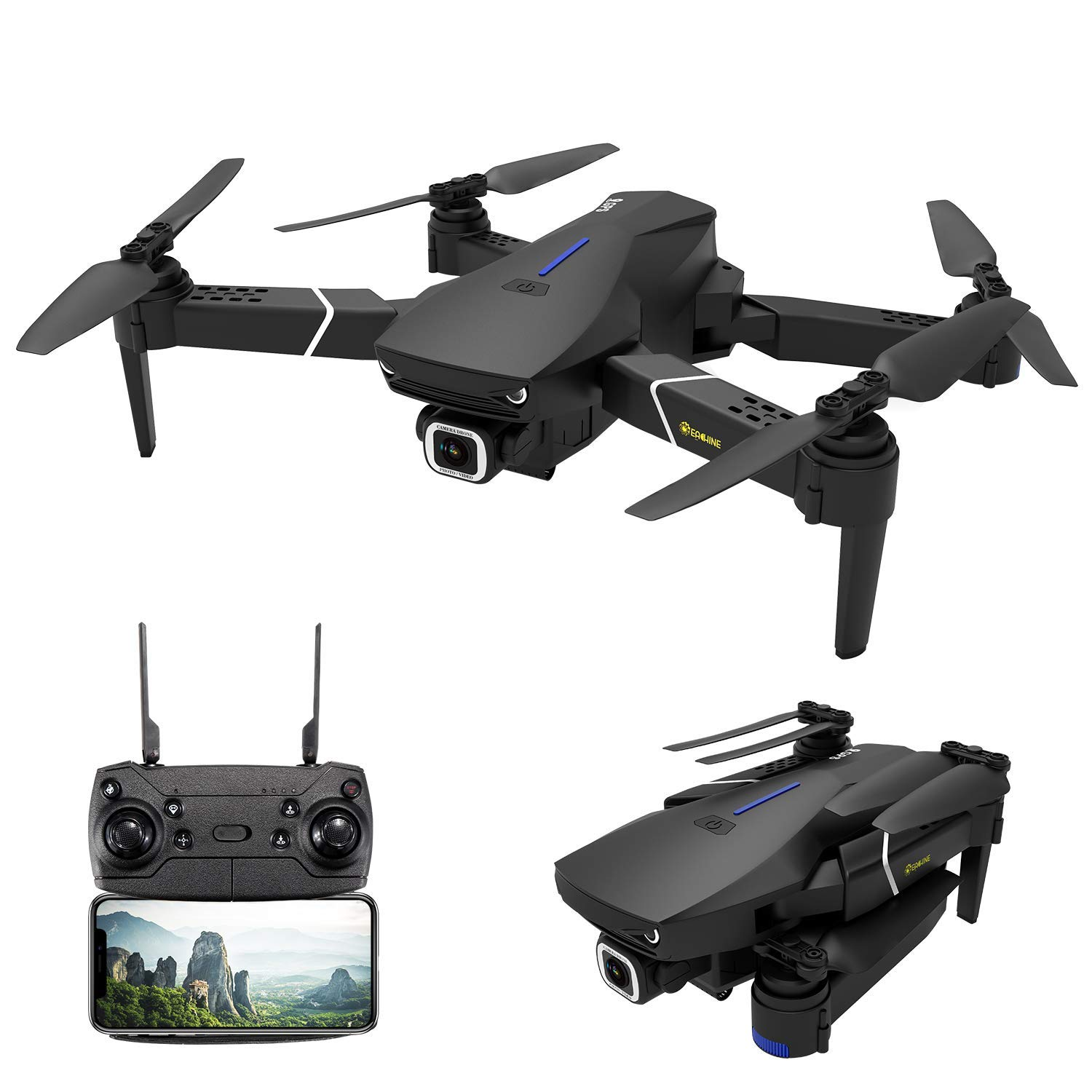 GPS Drone with 4K Camera for Adults,EACHINE E520S 5G WiFi FPV Live Video Foldable Drone GPS Return Home 1200Mah 16mins Flight Time 120° Wide Angle HD Camera RC Drone Quadcopter for Kids Beginners by EACHINE