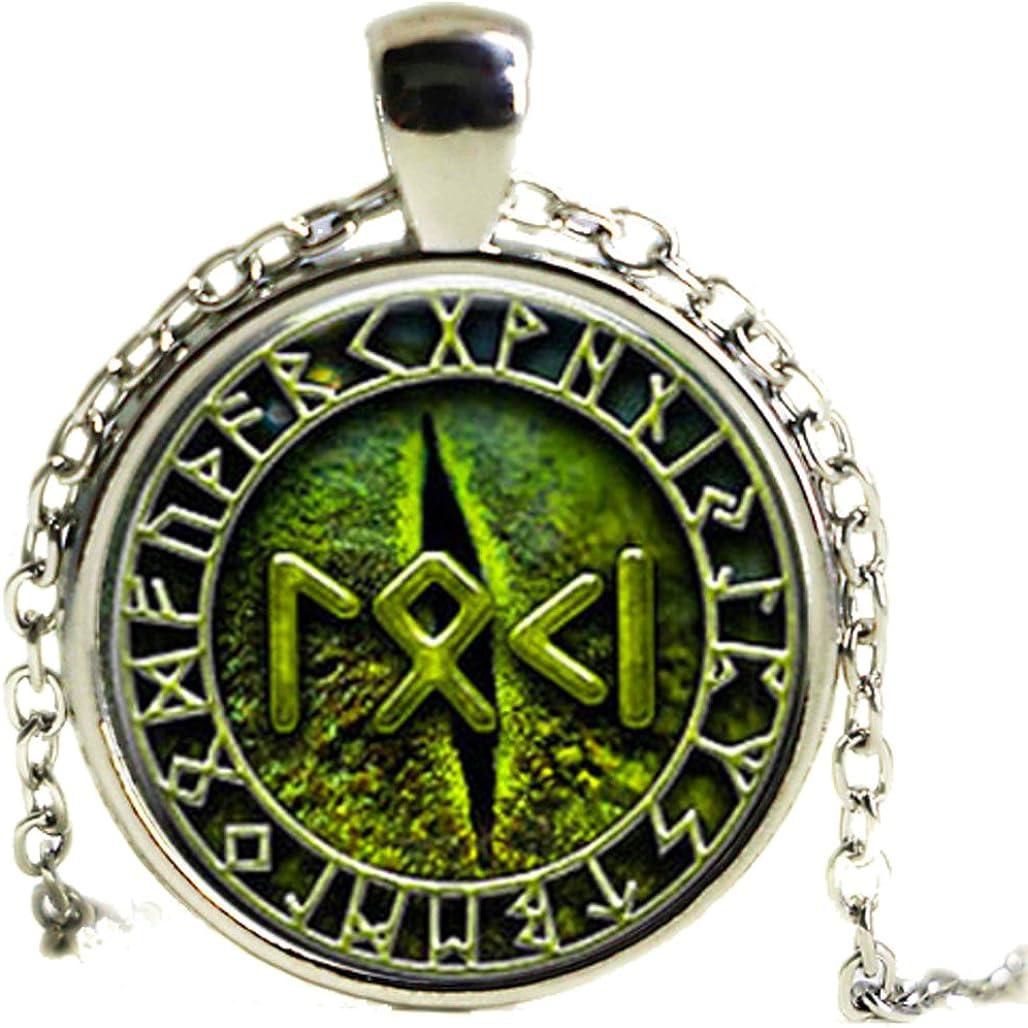 Vert Oeil de serpent Collier Loki Rune Nordique Viking