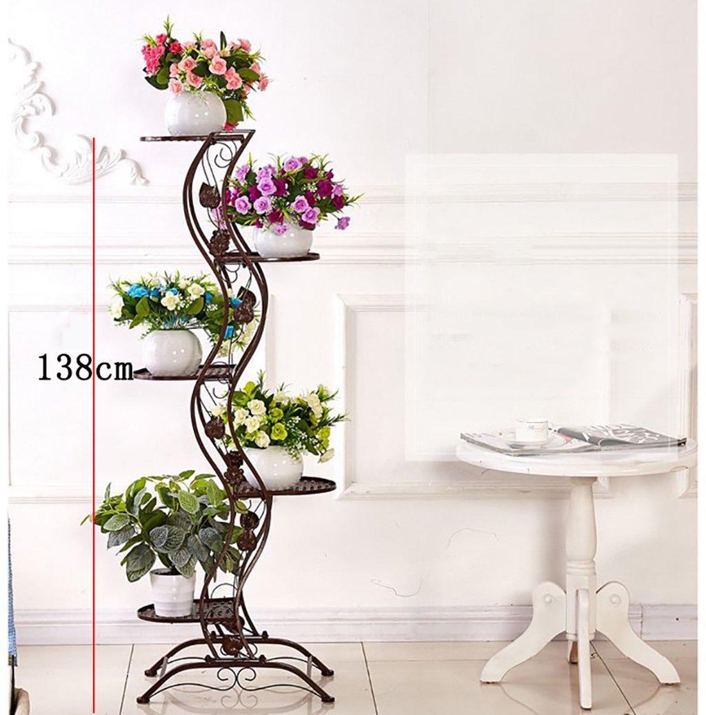 Etagère plantes porte plante De style européen simple balcon Fer étage-style Flower Rack / multi-couches intérieur et extérieur métal plante affichage vertical Rack fleur porte pot de fleurs ( Couleur : Brass ) ZXhuajia