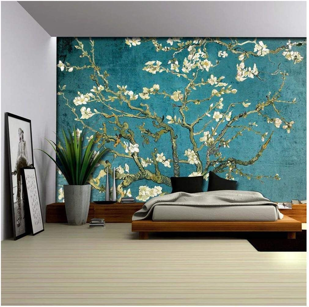 wall26 - Vibrant Teal Gradient Almond Blossom by Vincent Van Gogh - Wall Mural, Removable Sticker, Home Decor - 100x144 inches