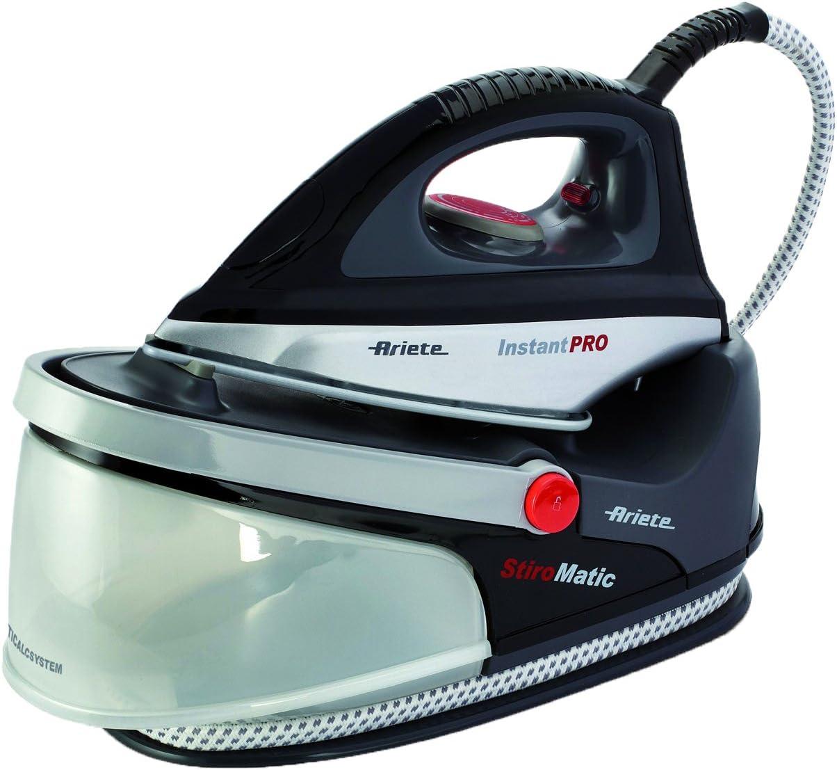 Ariete Stiromatic Instant Pro 5578 - Centro de Planchado de 2200 W, autonomía Ilimitada, suela cerámica, asa transporte, recogecable, color negro y plata