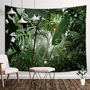 JAWO Tropic Jungle Green Plants Tapestry, Banana Tree Palm Tree Leaves Tapestry Wall Hanging for Dorm Living Room Bedroom, Wall Blanket Beach Towels Home Decor, 71X60 Inches