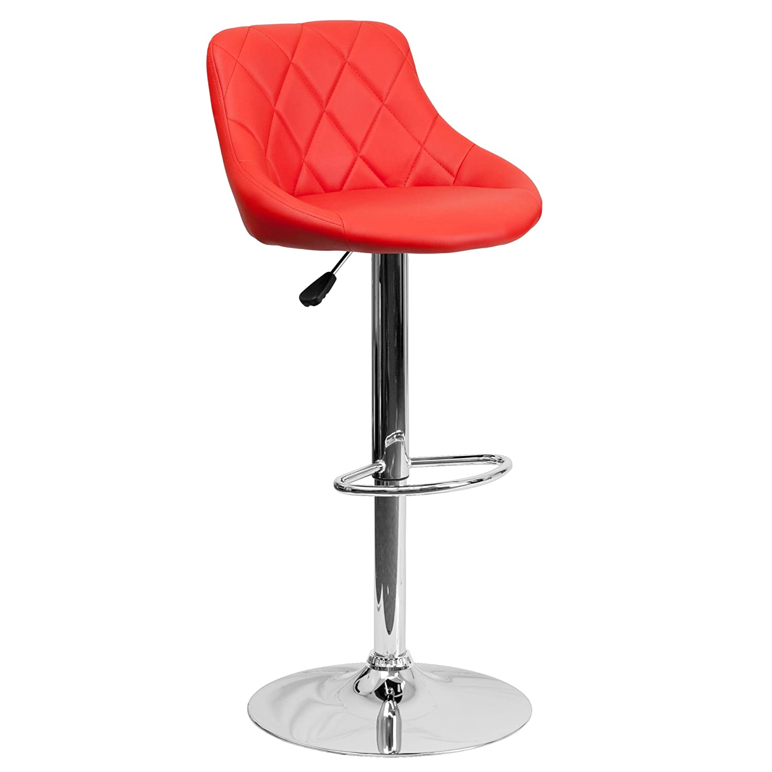 Flash Furniture Contemporary Black Vinyl Bucket Seat Adjustable Height Barstool with Chrome Base