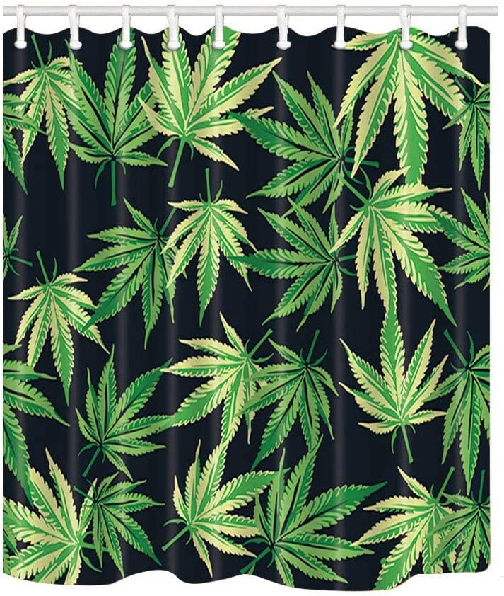 Amazon Com Ashasds Vector Plant Shower Curtains For Bathroom Cannabis Marijuana Leaves In Black Polyester Fabric Waterproof Bath Curtain Shower Curtain Hooks Included Home Kitchen