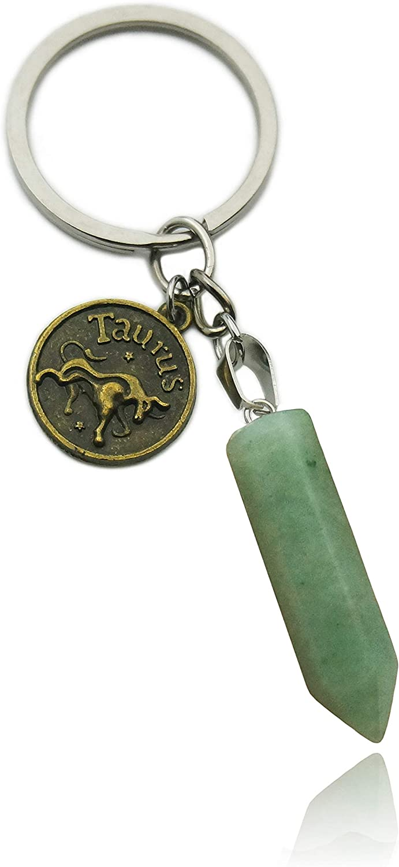 ZUOPIPI Zodiac Crystal Stone Keychain Natural Rose Stone/Red Agate/Aventurine Healing Crystal Keychain