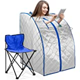 Infrared FAR IR Negative Ion Portable Indoor Personal Spa Sauna by Durherm with Air Ionizer, Heating Foot Pad and Chair…