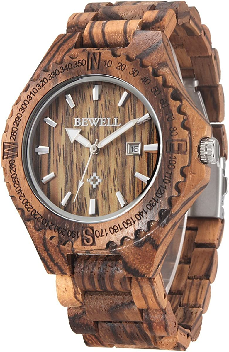 Alienwork Bewell Reloj Hombre Mujer Eco Madera Natural
