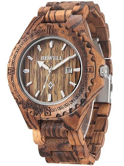 Alienwork Reloj Unisex Relojes Hombre Mujer Madera Zebrano marrón Analógicos Cuarzo Calendario Fecha Impermeable Madera Natural: Amazon.es: Relojes