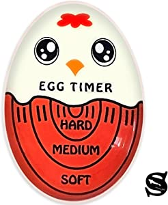 Egg Timer for Boiling Eggs Soft Hard Boiled Egg Timer That Changes Color When Done Bpa Free, Red