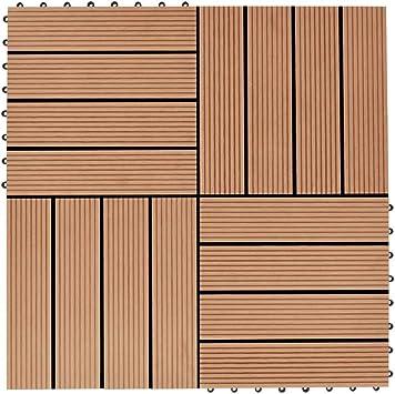 Azulejos de jardín de WPC, 11 unidades, 1 m2, suelo para exterior empotrado, baldosas para Decking, baldosas de jardín para pavimentación exterior terraza, 30 x 30 cm, teca: Amazon.es: Bricolaje y herramientas