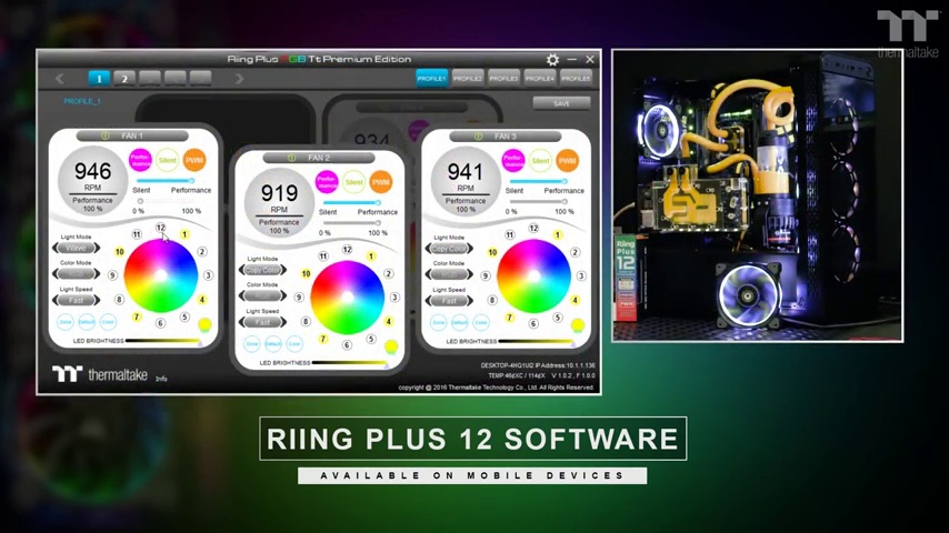 Thermaltake Riing Plus 12 RGB TT Premium Edition 120mm Software Enabled Circular 12 Controllable LED Ring Case/Radiator Fan - Five Pack - CL-F054-PL12SW-A