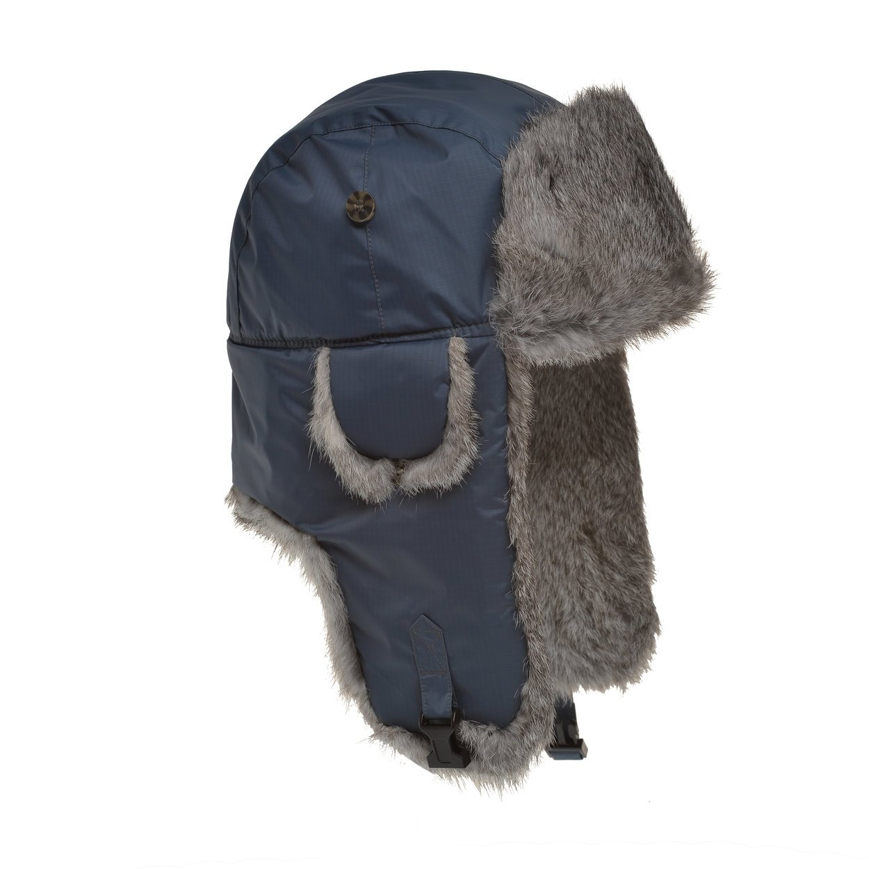 f969ce0ec Mad Bomber Black Aviator Pilot Bomber Hat with Faux Fur Trapper Hunting Cap
